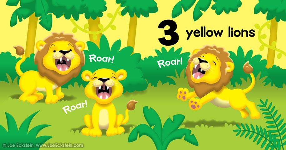 3 yellow lions, Roar, Roar, Roar, Roar
