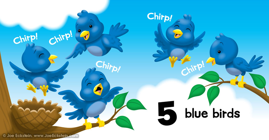 5 blue birds, Chirp! Chirp! Chirp! Chirp! Chirp!
